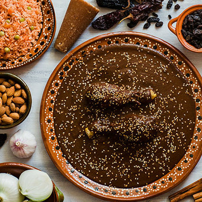 Mole Mexicano, Poblano mole ingredients, mexican spicy food traditional in Mexico