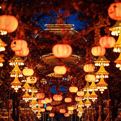 Halloween decorations at night in Tivoli gardens